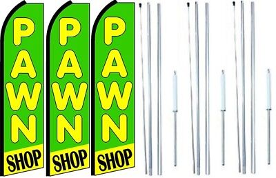 Pawn Shop Swooper Flag With Complete Hybrid Pole Set- 3 Pack
