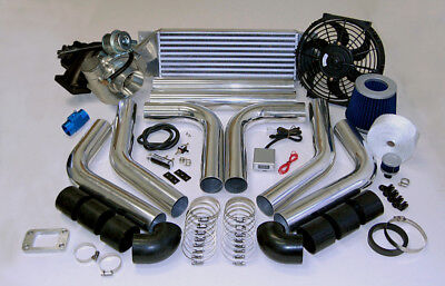 Filter Boost - 485+HP/PSI BOOST T3 UNIVERSAL INTERCOOLER PIPING FILTER TURBO CHARGER KIT FAN SS