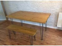 Rustic Wooden and Metal Hair Pin Legs Dining Table and Bench