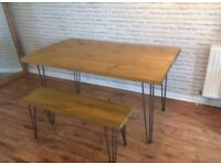 Wooden Table and Bench with Hair Pin Legs
