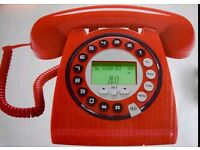 746 RETRO Vintage Style Work / HOME TELEPHONE, Landline With Caller ID - BLACK, Red, Gray or Green