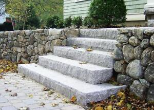 Natural stone steps, edging and pavers to accent the beauty of your landscape. Pick up in Barrie, we are open 7 days/wk.