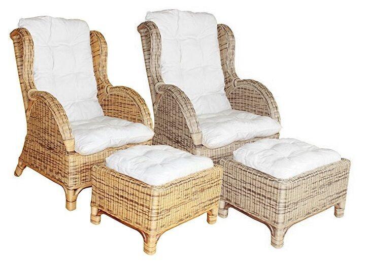 korbsessel rattanstuhl wei mit sitzkissen einzeln zu. Black Bedroom Furniture Sets. Home Design Ideas