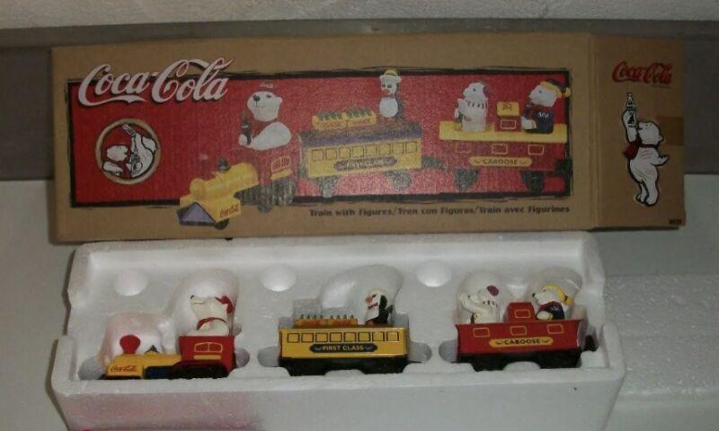 Rare Vintage ERTL Coca Cola Train With Polar Bear Figures 1998 NEW