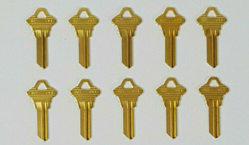 Schlage SC1 Key Blanks Brass Uncut Blank Keys for Lockset Deadbolt 10PACK