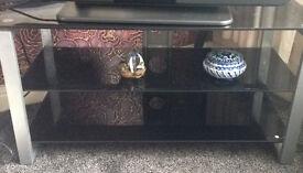 Black Glass 3 Shelf TV stand