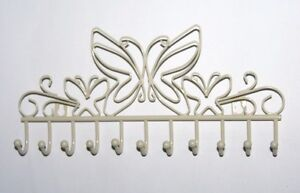 SHABBY AND CHIC CREAM HEART WALL HANGING JEWELLERY NECKLACES HANGERS STORAGE