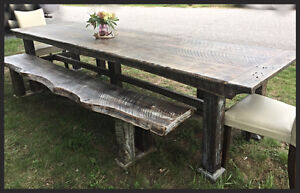 Handcrafted with 150 yr old Barnwood farmhouse table & benches