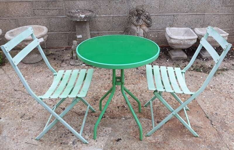 Round Green Garden Or Patio Table With Two Folding Chairs Set