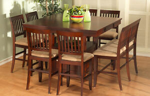 Beautiful Dark Wood Counter Height Table and 8 Chairs