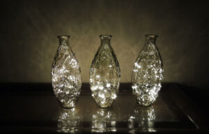 Illuminated Vases (12 inches tall) with white lights