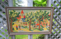 Needlepoint Framed Picture - Country Village Scene City of Montréal Greater Montréal Preview