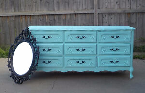 FRENCH PROVINCIAL 9 DRAWER DRESSER - SEA BREEZE - MALCOLM