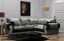 4 Seater Tango Crush Velvet Corner Sofa With Full Back Cushions