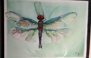 Dragonfly Wings Gouache Painting