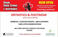 CUSTOM ORTHOTICS / SHOE REPAIRS & SALES