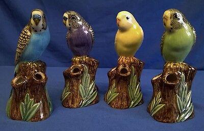 SET OF FOUR QUAIL BUDGERIGAR BUDGIE BUD VASES TROPICAL AUSTRALIAN BIRD PARAKEET