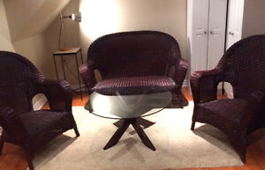 Three Piece Wicker Set, Sofa and Two Chairs, for Porch or Patio