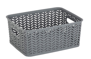 Simplify Small Herringbone Bin in Grey Storage Basket