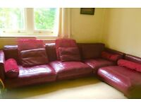 Red Leather Large Corner Sofa California From DFS cost £3000 new 4 Years Ago.
