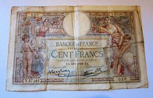 Vintage 1938 Banque de France 100 Francs Circulated Banknote Kitchener / Waterloo Kitchener Area image 2