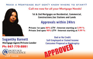 Private Mortgage upto 90%LTV and Unsecured Line of Credits