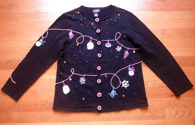 Studio Joy Ugly Christmas Sweater Cardigan Ornament Snowman Santa Beaded Sz L