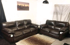 | New ex display dfs Dark brown real leather 3+2 seater sofas