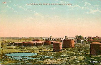 C 1910 Coffeyville Kansas Oil Scene Tank Farm Kress Postcard 3905