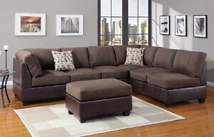 Brown faux leather and suede sectional sofa