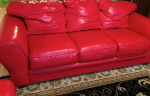 poppy Red Top of the line leather sofas. Kitchener / Waterloo Kitchener Area image 5