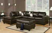 NEW! Leather Sectional Sofa in Espresso, Cream & Black
