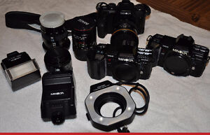 Minolta 35mm Film SLR Camera Equipment, multi pieces