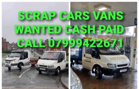 SCRAP CARS VANS BOUGHT CASH TODAY