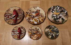 Ceramic Plate Wall Hangings with Birds (set of 6)