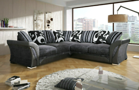 SHANNON BLACK FAUX LEATHER AND CHENILLE 3+2 Sofa set or Corner suit .