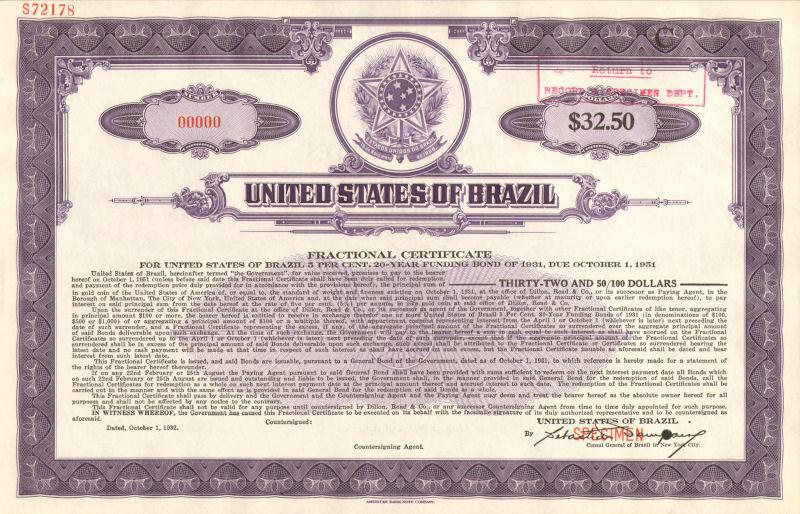 United States of Brazil > Estados Unidos do Brazil > specimen stock certificate