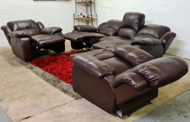 Italian Leather 3 Seater & 2 Armchairs - Manual Recliners
