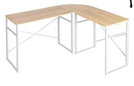 A new stylish oak effect wooden topp with white mettle corner desk .