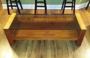 Antique teak coffee table and end tables