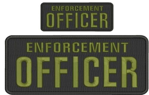 ENFORCEMENT Officer embroidery patches 4x10 and 2x5 hook on back od green