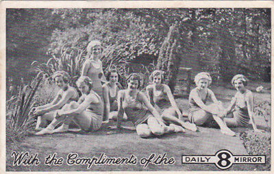POSTCARD WOMEN IN SWIM SUITS WITH THE COMPLIMENTS OF THE DAILY MIRROR UK