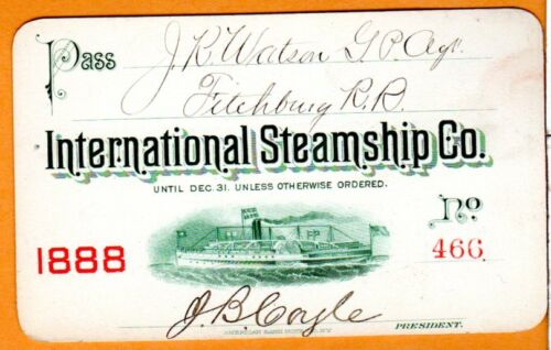 1888 International Steamship Company - Massachusetts to Maine - Annual Pass
