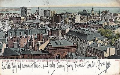 Antique POSTCARD c1907 Bird's Eye View from State House Dome BOSTON, MA 18930