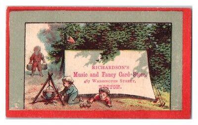 Kids Camping, Richardson's Music & Fancy Card Store, Boston Victorian Trade Card
