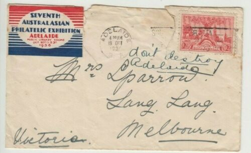 Stamp 7th Australasian Philatelic Exhibition 1936 Cinderella labels on cover