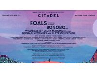 Two tickets to Citadel Festival 16th July Victoria park (Foals headlining)