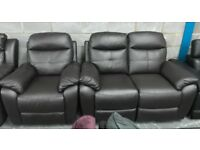 Leather recliner 2 seater and armchair