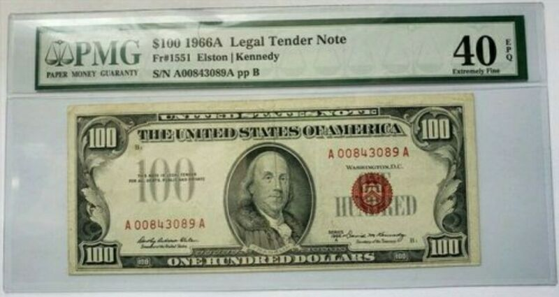 1966A Fr# 1551 $100 Legal Tender Note. PMG Extremely Fine 40, EPQ