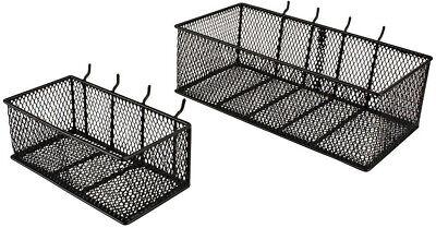 2-Pack Peg Board Baskets Black Steel Wire Mesh Organizer Wall Storage Bins -